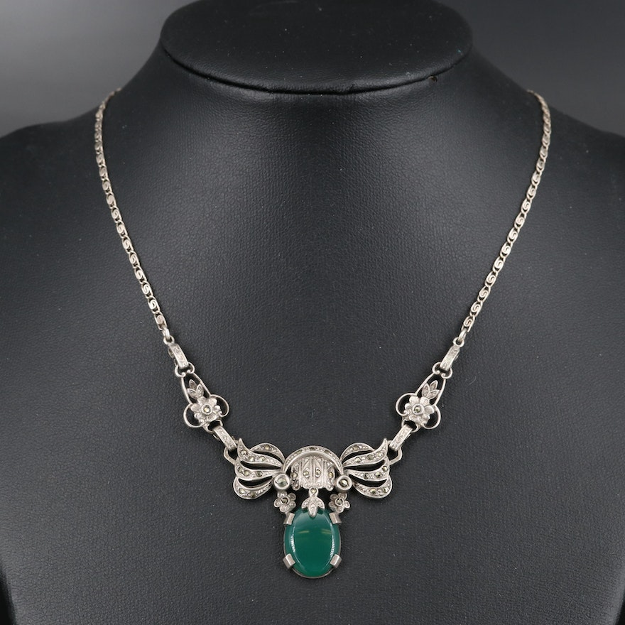 Art Deco Sterling Chalcedony and Marcasite Necklace