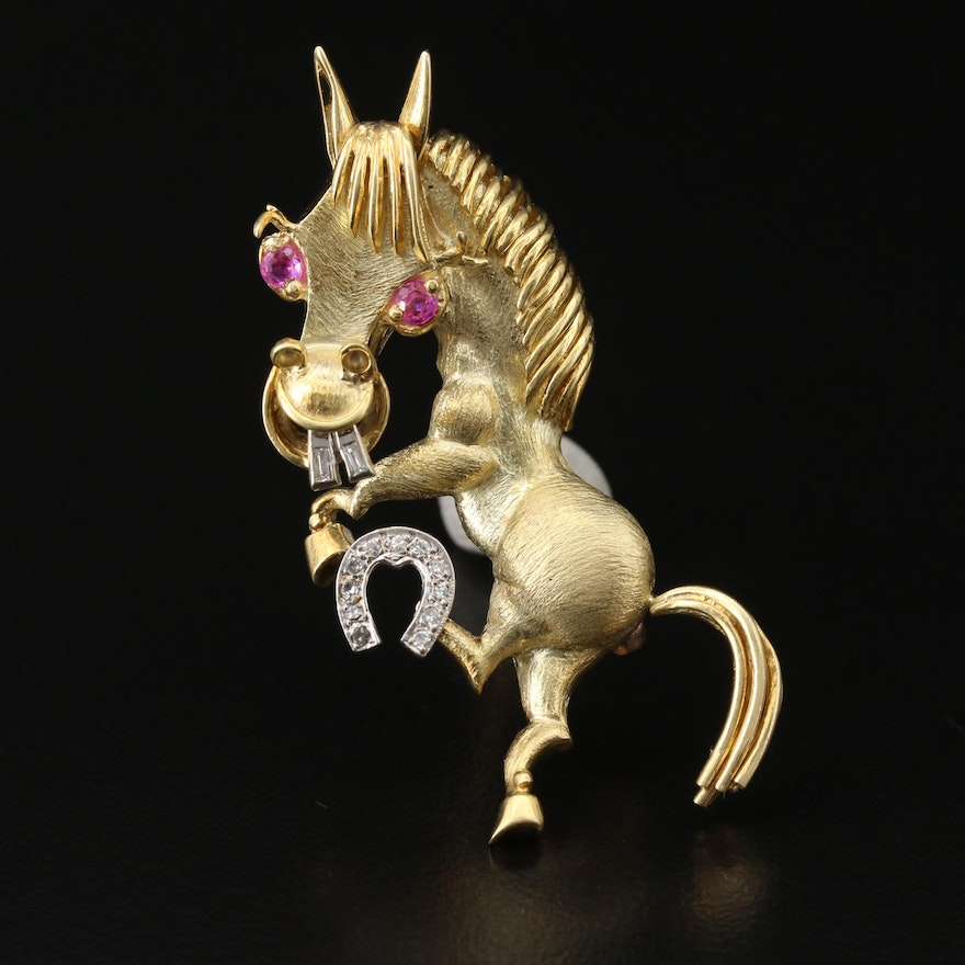 18K Diamond and Ruby Lucky Horse Brooch with 14K Horseshoe and Buckteeth