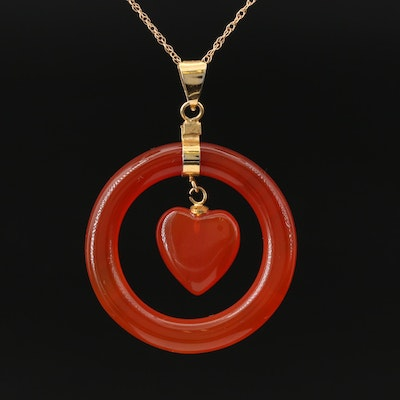 Carnelian Hololith Pendant with Heart Dangle on 14K Necklace