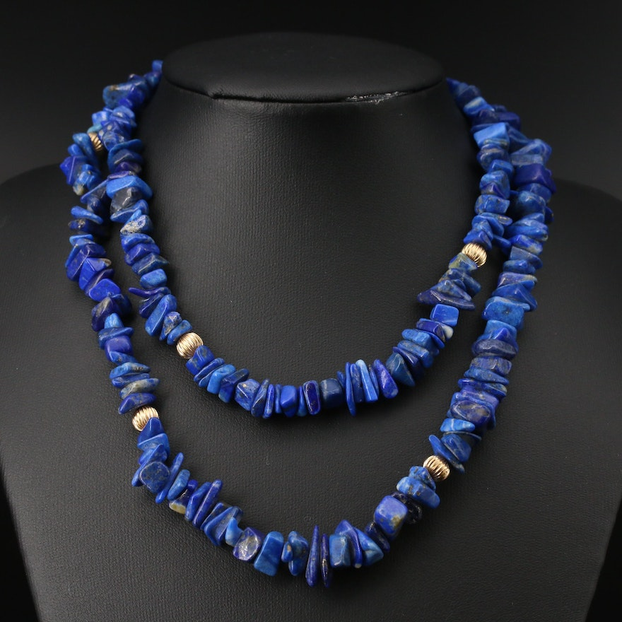 Lapis Lazuli Beaded Necklace with 14K Clasp and Beads
