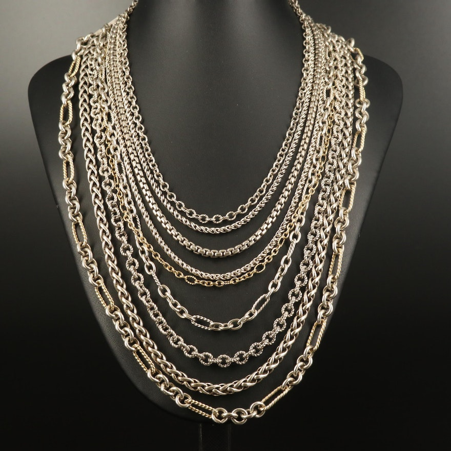 David Yurman Sterling Multi-Strand Necklace with 18K Accents