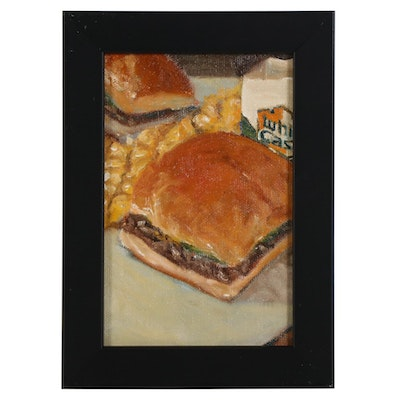 Tom Jordan Still Life Oil Painting of White Castle Sliders, 2020