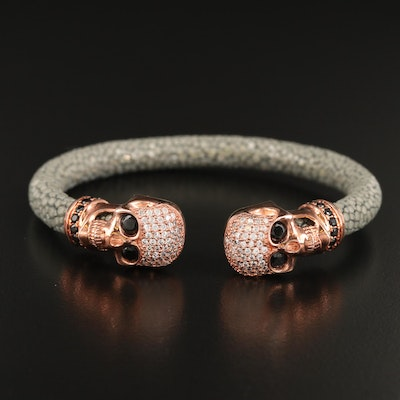 Sterling Cubic Zirconia and Stingray Skull Cuff