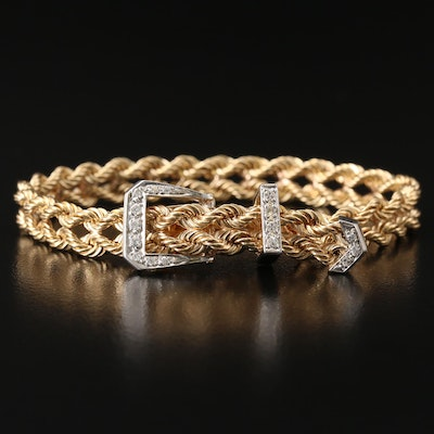 14K Diamond Double Rope Buckle Bracelet