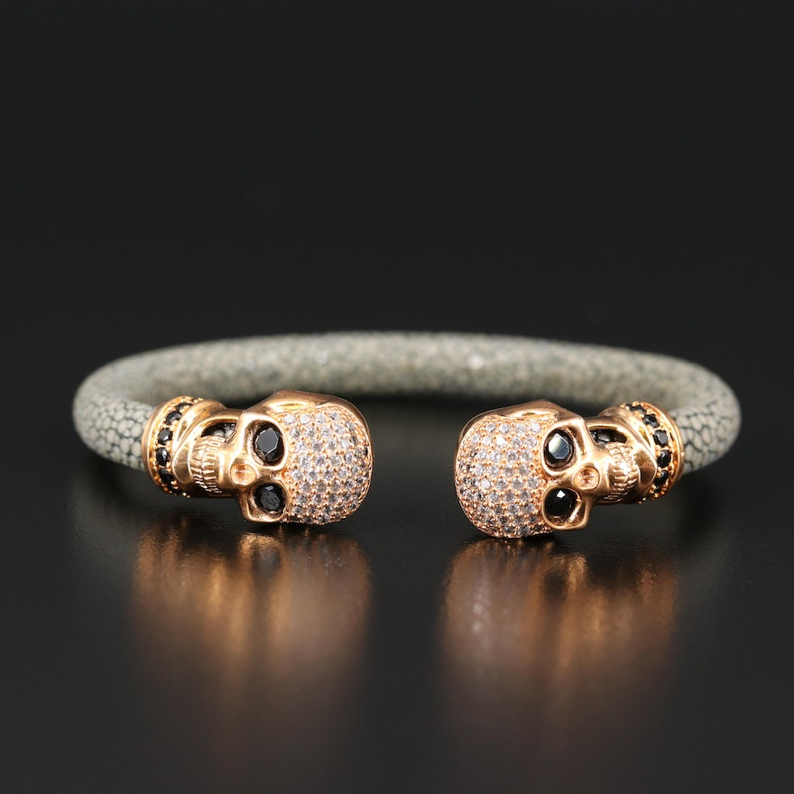 Sterling Skull Cuff with Stingray Skin and Cubic Zirconia