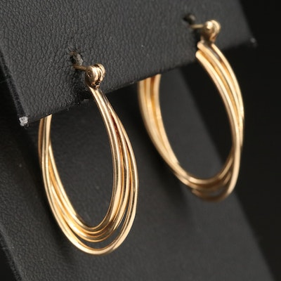 14K Triple Tube Hoop Earrings