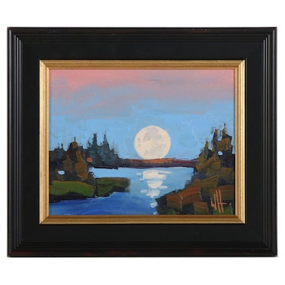 William Hawkins Oil Painting of Moon Rising Over Lake, 2021