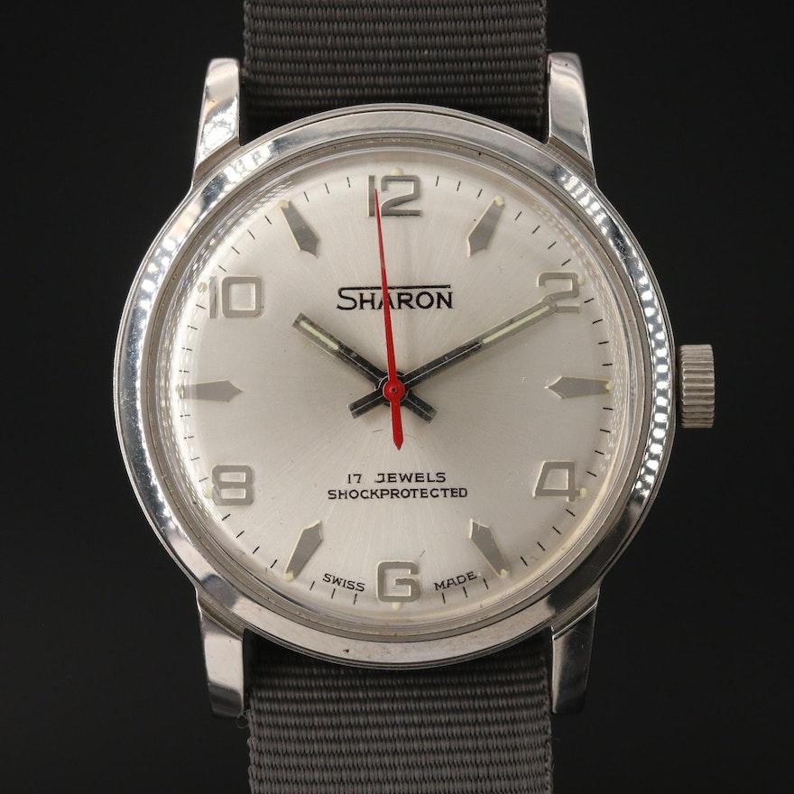 Vintage Sharon Stainless Steel Stem Wind Wristwatch