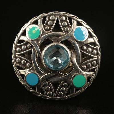 John Hardy Sterling Topaz and Enamel Ring