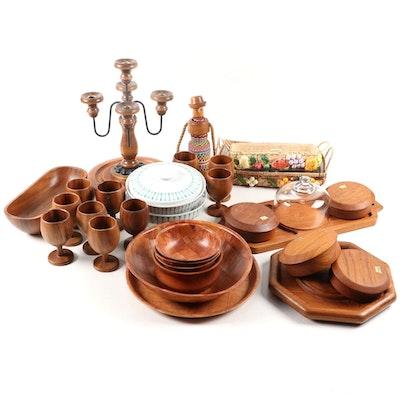 Paul McCobb Contempri Tableware with Kalmar and Other Teak Serveware