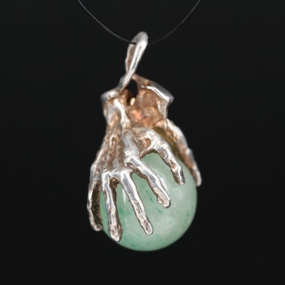 Sterling Aventurine Quartz Hands Pendant