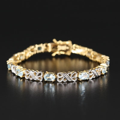 Sterling Topaz and Diamond Bracelet