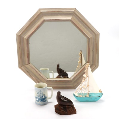 Hand-Carved Rosewood Seal Figure with Wall Mirror, Sailboat and Mug