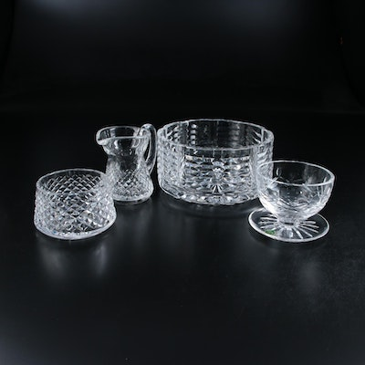 Waterford Crystal Cream and Sugar Set with Nut Bowls, Mid to Late 20th Century