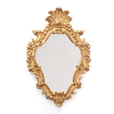 Italian Florentia Baroque Style Gilt Carved Wooden Mirror, Mid to Late 20th C.