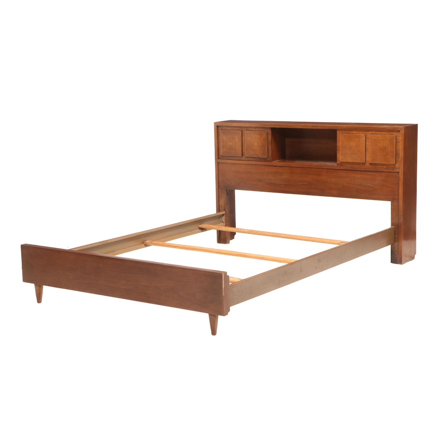 Mid Century Modern Walnut and Metal Full Size Bed Frame