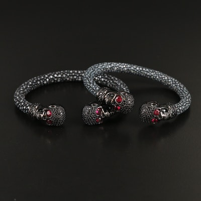 Sterling Ruby, Cubic Zirconia and Stingray Skull Cuffs