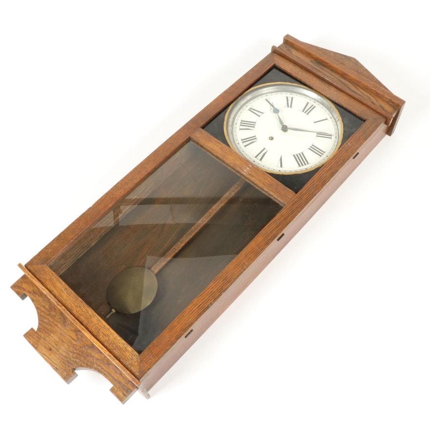 Oak Cased Wall Regulator Clock, Mid-20th Century