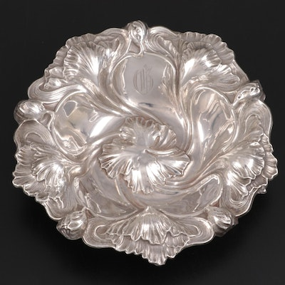 American Floral Repoussé Sterling Silver Bowl, Early 20th Century