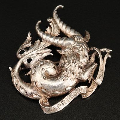 Vintage Guglielmo Cini Sterling Silver Capricorn Brooch