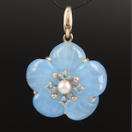 14K Jadeite, Pearl and Topaz Flower Pendant