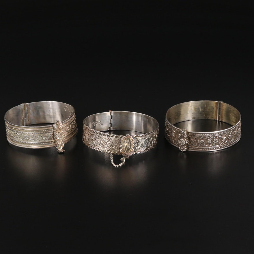 Indian Sterling Silver Hinged Bangles with Stampwork Designs