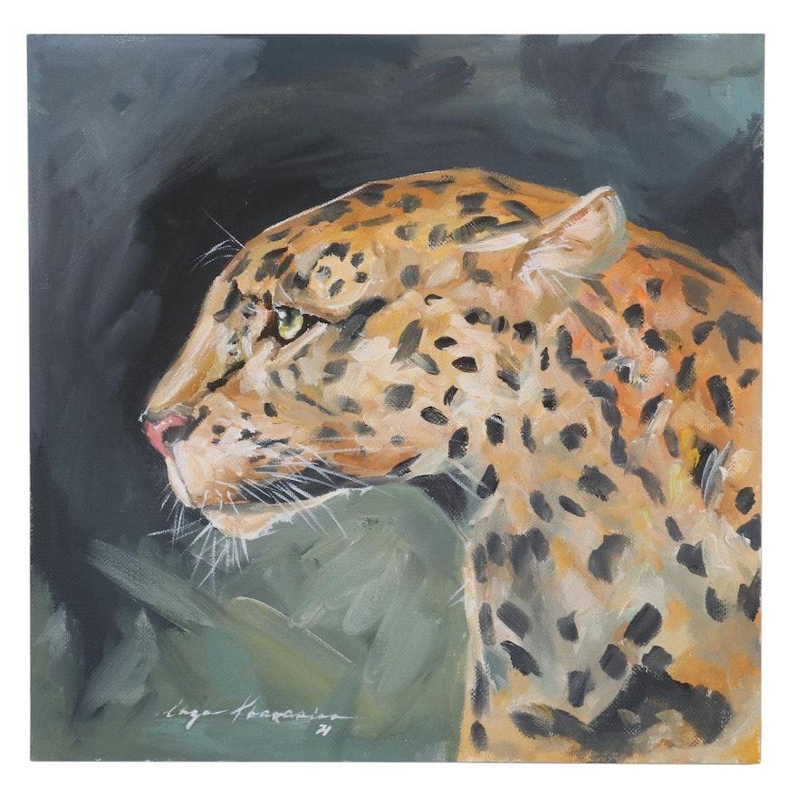 Inga Khanarina Oil Painting of Leopard