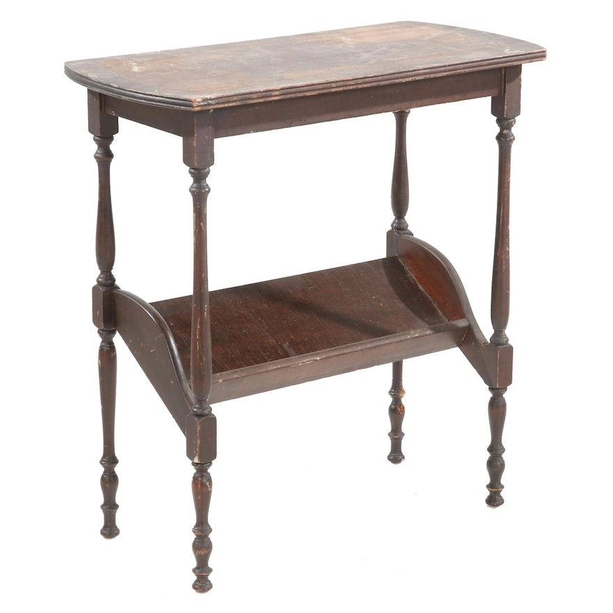 Mahogany-Finished Book Stand Table, Mid-20th Century