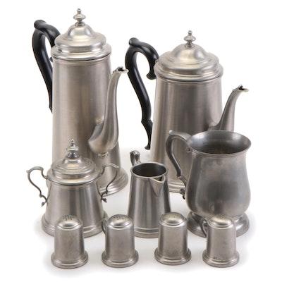 Williamsburg Stieff Pewter Mug and Other Pewter Serveware, 20th Century