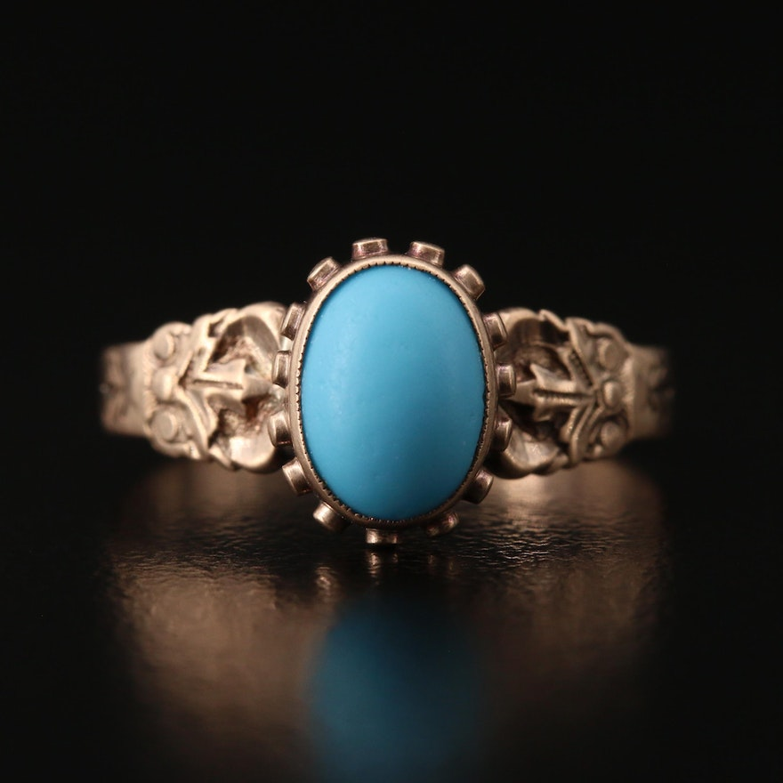 Victorian 10K Turquoise Ring