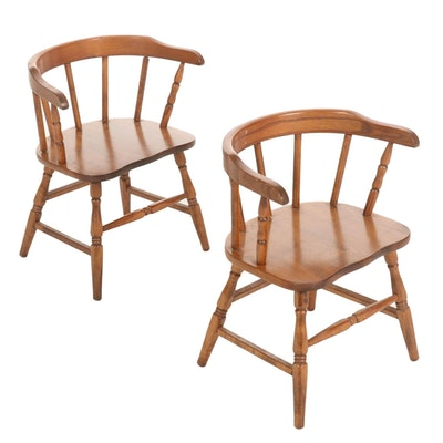 Pair of Maple Round Back Child's Chairs