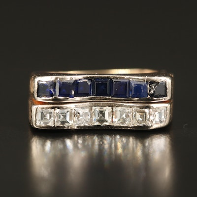 14K 1.13 CTW Diamond and Sapphire Bar Ring