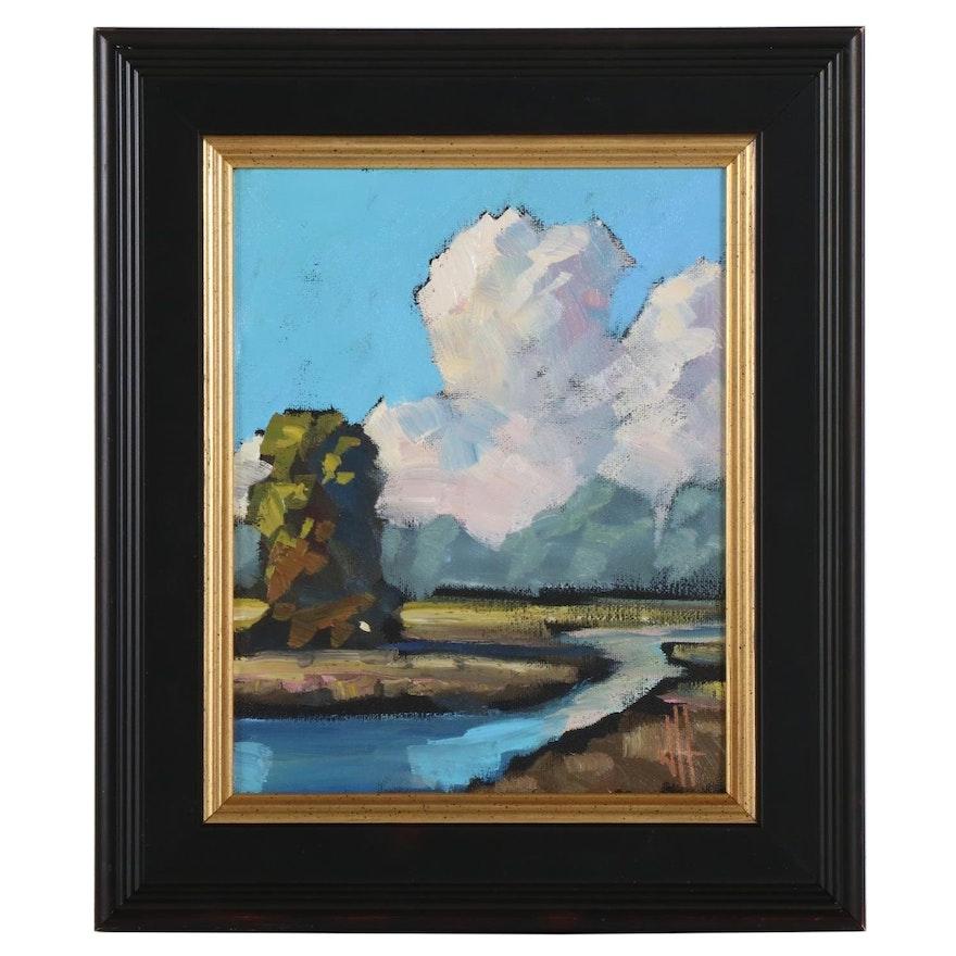 William Hawkins River Landscape Oil Painting, 2021