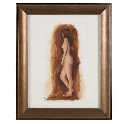 """Miriam Scigliano Acrylic Painting """"Nude Study,"""" 2019"""