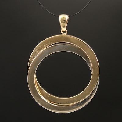 14K Two-Tone Interlocking Circle Pendant