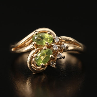 10K Peridot and Diamond Ring