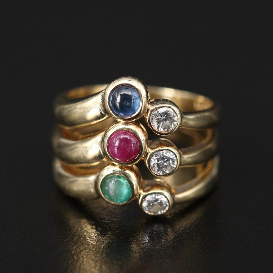 14K Emerald, Sapphire, Ruby and Diamond Ring