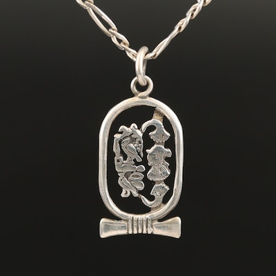 Egyptian 800 Silver Hieroglyphic Pendant on Sterling Figaro Chain Necklace