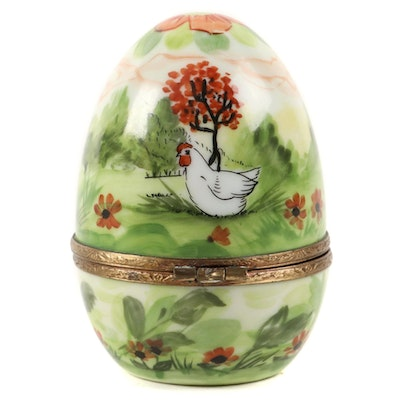 "Gérard Ribierre ""French Home"" Limoges Porcelain Egg Box"