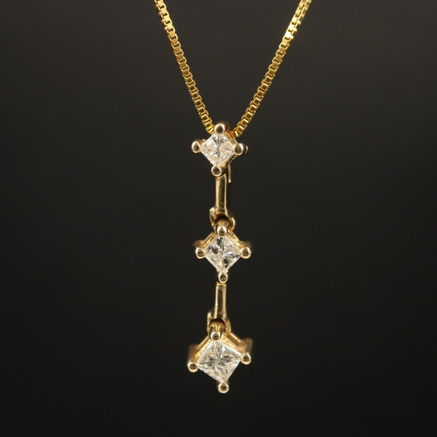10K Diamond Graduated Pendant Necklace