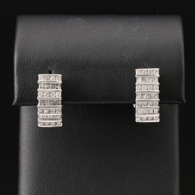 10K 1.31 CTW Diamond J-Hoop Earrings