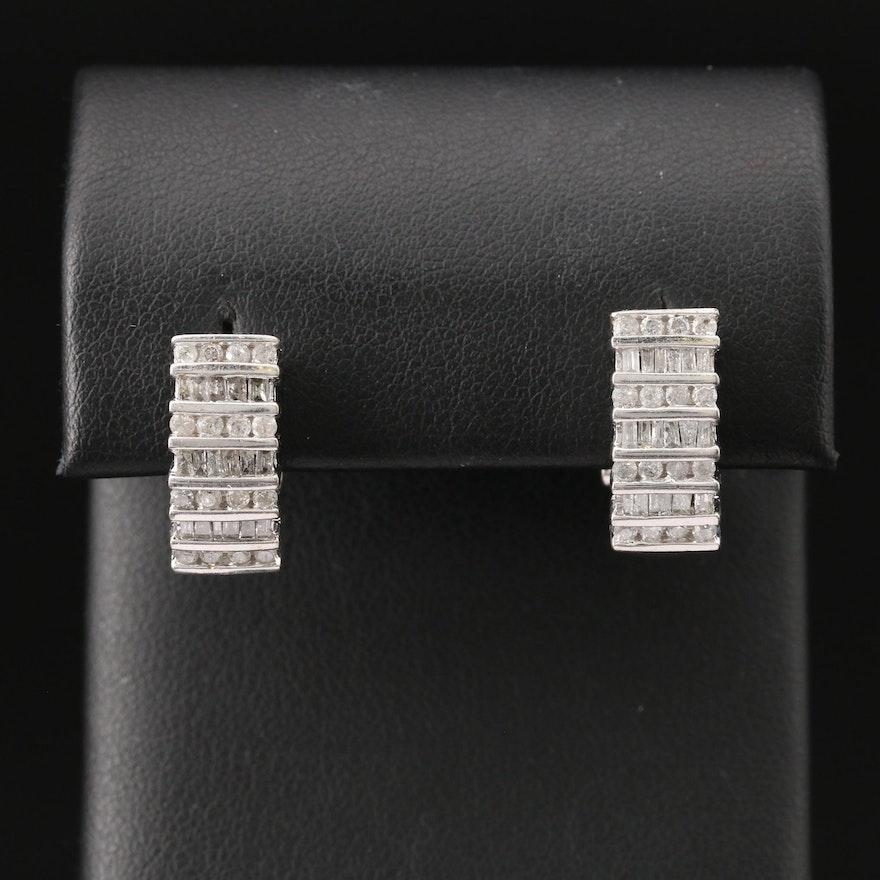10K 1.31 CTW Diamond J-Hoop Earrings
