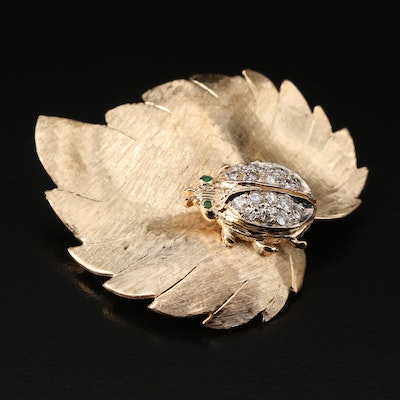 1950s - 1960s 14K Diamond and Emerald Lady Bug on Leaf Brooch