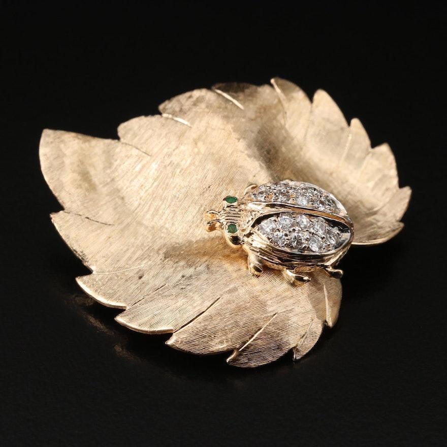 1950s - 1960s 14K Diamond and Emerald Lady Bug on Leaf Brooch
