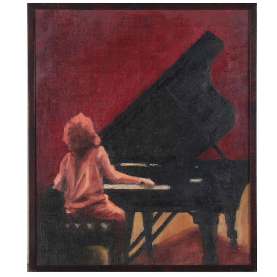 "Oil Painting ""The Pianist,"" 21st Century"