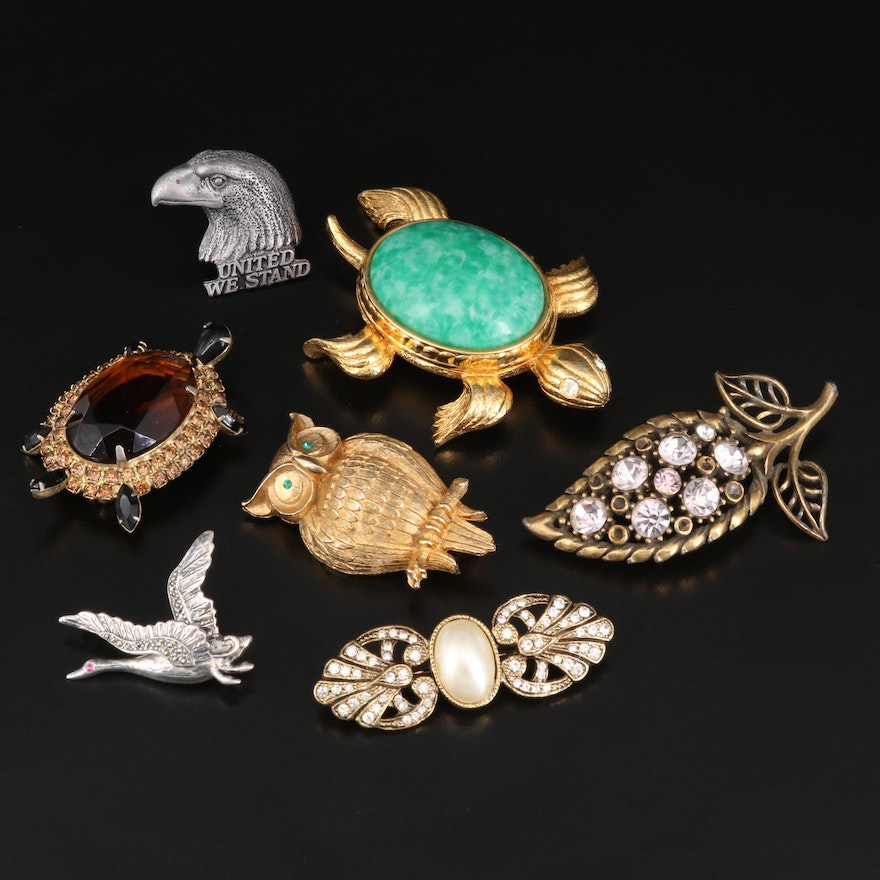 Vintage Brooches and Lapel Pins Featuring Sterling Bird Brooch