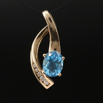 10K Topaz and Diamond Pendant