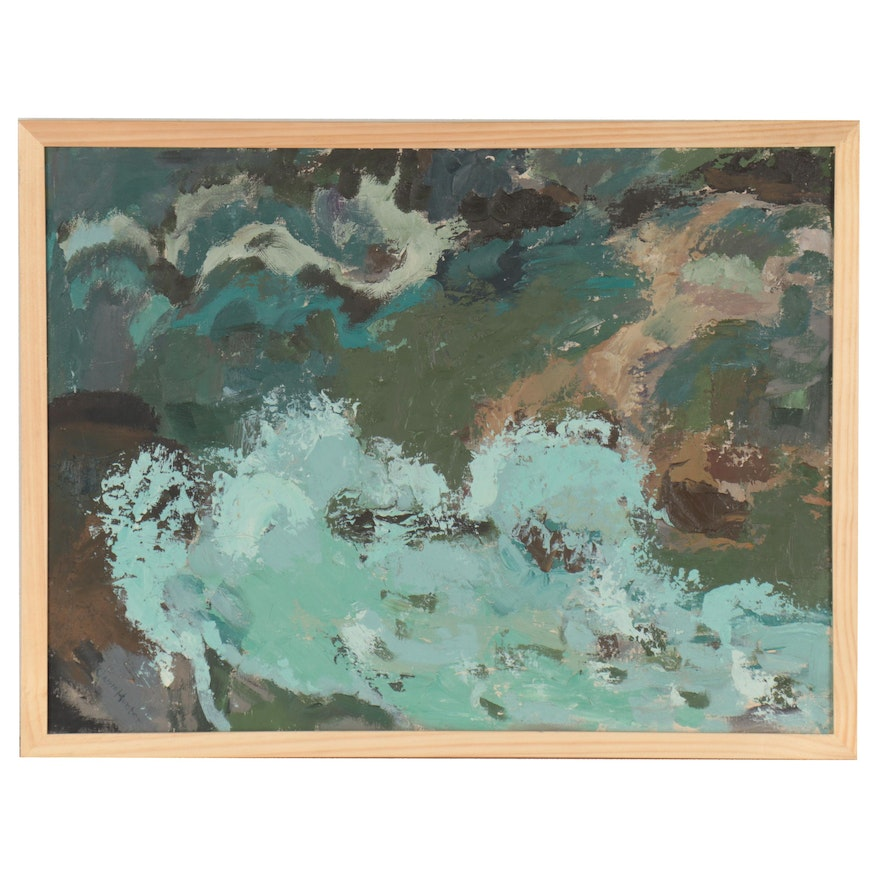 "Carrie Hunter Oil Painting ""Seascape,"" Late 20th Century"