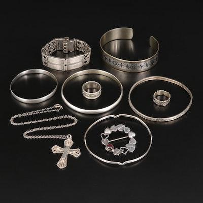 Silver Jewelry Featuring Vintage 875 Silver Russian Bracelets