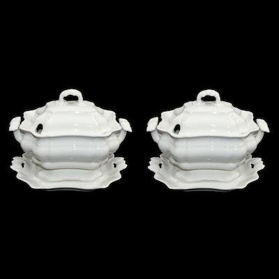 San Marco Italian White Ceramic Tureens, Late 20th Century